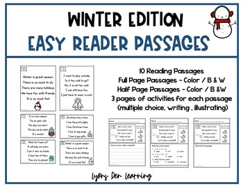 Beginning Reader Winter Reading Passages and Comprehension Activities