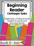Beginning Readers Clothespin Work Tasks Bundle
