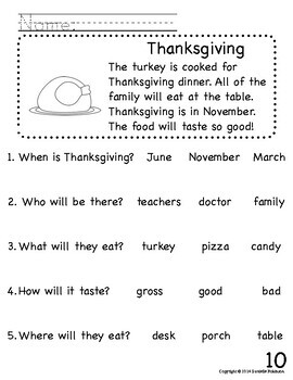 Beginning Reader's Comprehension Packet Fall Themed