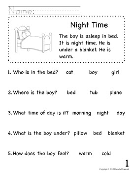 Beginning Readers Comprehension Packet for Early Education ...