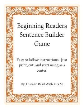 Beginning Readers Sentence Builders Game