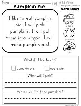 Beginning Reading Comprehension - Fall Edition