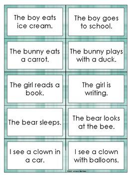 Beginning Reading Comprehension using Sentences. Match-up game.