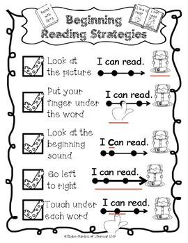 Beginning Reading Strategies Anchor Chart