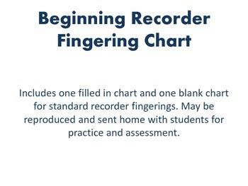 Beginning Recorder Fingering Chart