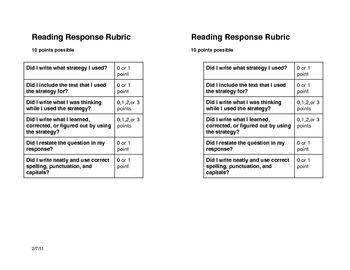 Beginning Response to Reading Rubric