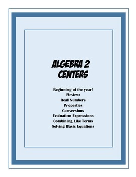 Beginning Review Centers for Algebra 2