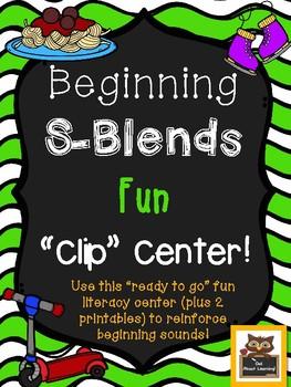 Beginning S-Blend Literacy Clip Center Fun!