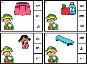 Beginning S Blends Task Cards Christmas Elf Theme