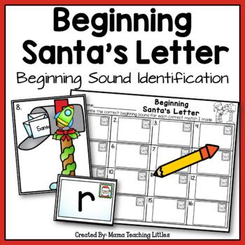 Beginning Santa's Letter - Beginning Sound Identification