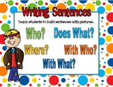 Beginning Sentence Writing Worksheets: Who, Doing What, Where