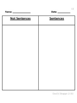 Beginning Sentences (Set 1) (Print and use)