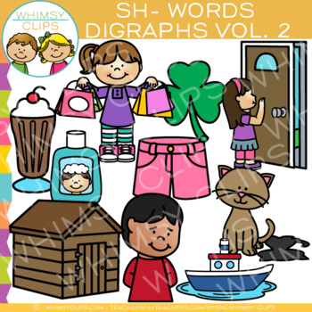Beginning Sh- Words Digraphs Clip Art - Volume Two