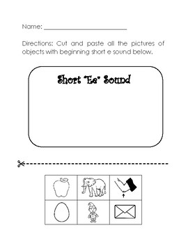 Beginning Short Ee Sound Worksheets