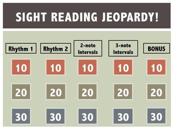 Beginning Sight Reading Jeopardy