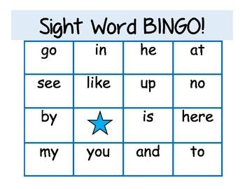 Beginning Sight Word BINGO using 25 Fry words
