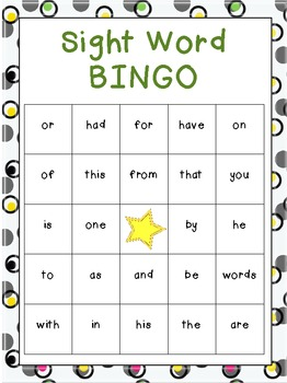 Beginning Sight Word Bingo Games (Fry's)