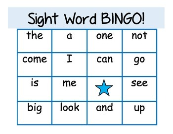 Beginning Sight Word Bingo with 25 Dolch Pre-Primer words