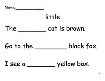Beginning Sight Word Sentence Practice - Set 4