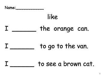 Beginning Sight Word Sentences- Set 3