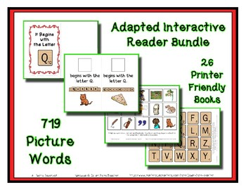 Beginning Sound Adapted Interactive Reader Bundle - 26 Letter Early Readers