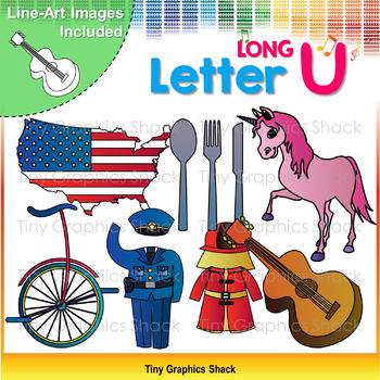 Beginning Sound Alphabet Long U Clip Art