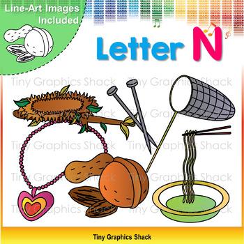 Beginning Sound Alphabet N Clip Art