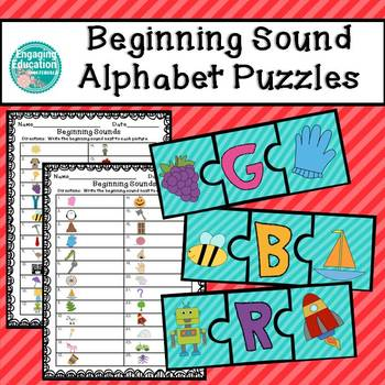 Beginning Sound Alphabet Puzzles & Recording Sheets