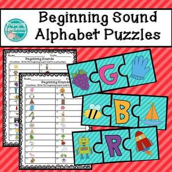 Beginning Sound Alphabet Puzzles & Recording Sheets