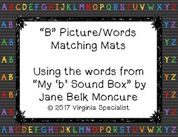 """Beginning Sound - """"B"""" Word Matching Mats"""
