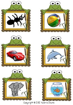 Beginning Sound Card Sort File Folder Game (FROG THEME)