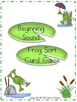 Beginning Sound Card Sort File Folder Game (FROG THEME)