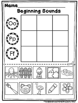 Beginning Sound Center Activity Sheets  {Ladybug Learning Projects}