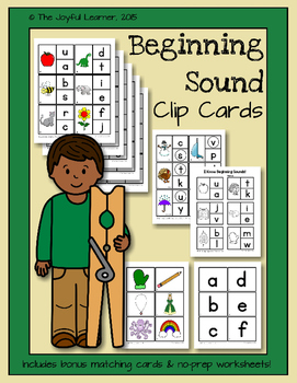 Beginning Sound Clip Cards + Bonus Matching Cards
