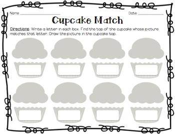Beginning Sound Cupcake Match