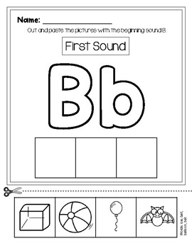 Beginning Sound Cut and Paste