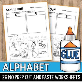 Beginning Sound Cut & Paste Alphabet Worksheets, Alphabet Cut & Paste Worksheets