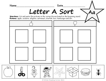 Beginning Sound Cut and Paste Sort - Letter A FREEBIE