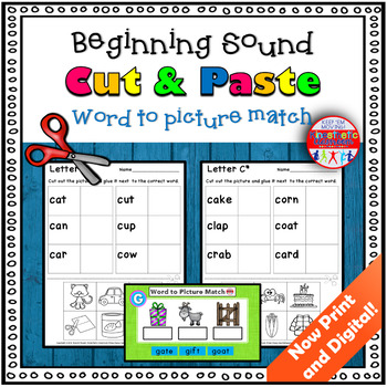 Beginning Sound Worksheets Cut And Paste By Kinesthetic Classroom