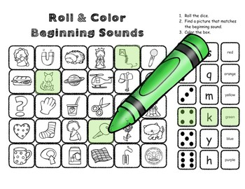 Beginning Sounds Roll and Color: Dice Activities