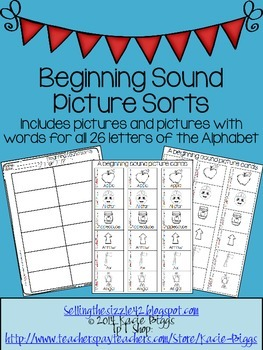 Beginning Sound Letter Sorts- Print and GO!