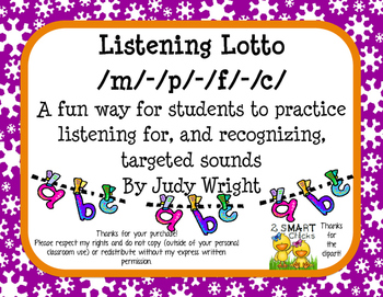 Beginning Sound Listening Lotto for /m/ /p/ /f/ and /c/