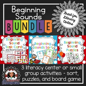 Beginning Sound Literacy Bundle - Puzzles, Sort, and Task Cards