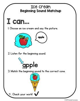Beginning Sound Literacy Center Game - Ice Cream