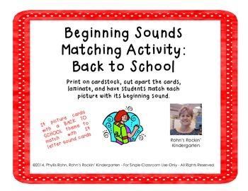 Beginning Sound Match: Back to School
