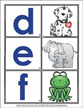 Beginning Sound Match Up Center With Vocabulary Cards - Kindergarten - RF.K.3a