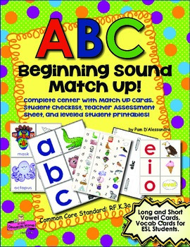 Beginning Sound Match Up Center With Vocabulary Cards - Ki