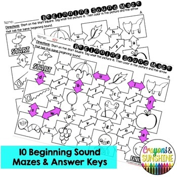 Beginning Sound Maze (Just Print & Go worksheets)