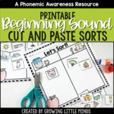 Beginning Sounds Phoneme Isolation Sorts