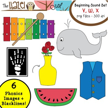 Beginning Sound Phonics Clip Art - V, W, X Set